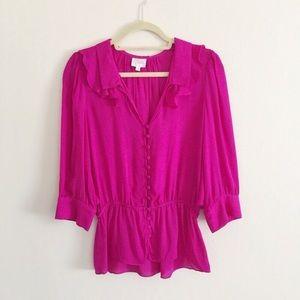 Parker silk ruffle blouse